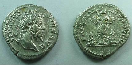 Ancient Coins - Septimius Severus Denarius.  PART MAX P M TR P VIIII, Two captives, mourning, seated beneath trophy.