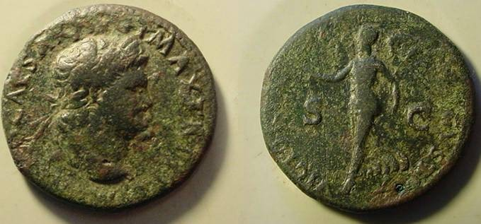 Ancient Coins - Nero Æ Dupondius.66 AD. Victory walking left