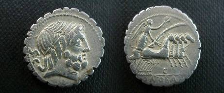 Ancient Coins - Q Antonius Balbus Denarius Serratus,  83-82 BC.  Victory in quadriga right, control letter below, Q ANT BALB P R in ex.