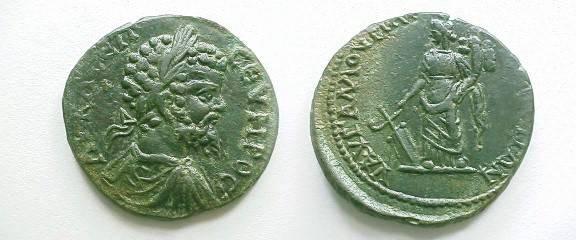 Ancient Coins - Septimius Severus AE29 of Markianopolis. Tyche standing left with rudder & cornucopiae.