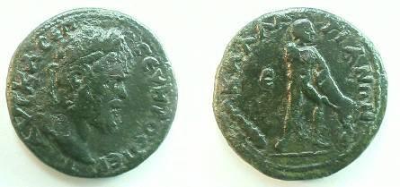 Ancient Coins - Septimius Severus AE21 Pentassarion of Kallatis, Thrace. Hercules wrestling Namean lion right, club at lower left, e at upper left.