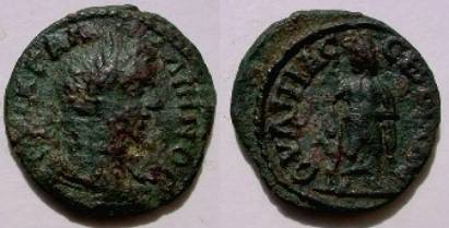 Ancient Coins - Gallienus AE26 of Serdica, Thrace. Asklepios standing right leaning on serpent staff.