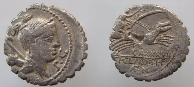 Ancient Coins - Ti Claudius Ti F AN  Nero Serrate Denarius