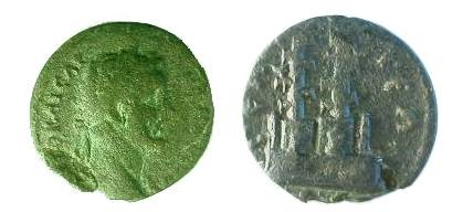 Ancient Coins - Antoninus Pius AE26 of Selge, Pisidia.  Sanctuary of Zeus and Hercules, two towers, thunderbolt to left and club to right.