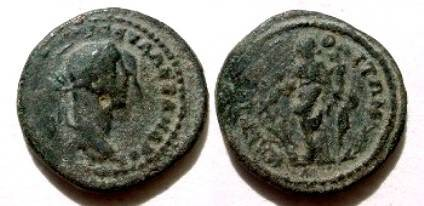 Ancient Coins - Severus Alexander AE21mm of Markianopolis. Fortuna standing left with rudder & cornucopiae.