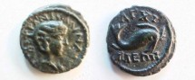 Ancient Coins - Tranquillina AE18 of Anchialus, Thrace.  Dolphin right.