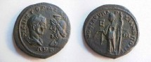Ancient Coins - Gordian III & Serapis Æ 28mm of Markianopolis.  Demeter standing left with grain ears and long torch; E in field.