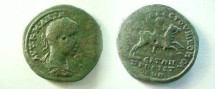 Ancient Coins - Gordian III AE30 of Nikopolis ad Istrum.  Emperor galloping right, hand raised.