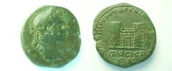 Ancient Coins - Elagabalus III AE26 of Nikopolis ad Istrum.  City gate with two towers.