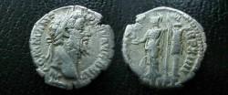 Ancient Coins - Commodus Denarius.  MIN VICT P M TR P XIIII, Minerva standing left holding Victory, sheild left, trophy right, COS V PP below.