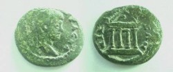 Ancient Coins - Geta AE18 of Nicaea, Bithynia.  Tetrastyle temple on a pedament.
