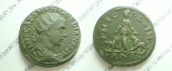 Ancient Coins - Gordian III Æ 24mm of Viminacium.  PMS COL VIM, Moesia standing between bull & lion; AN III in ex.
