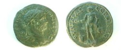 Ancient Coins - Geta AE30 of Serdica, Thrace.  Apollo standing left holding patera and branch, altar at foot.