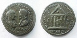 Ancient Coins - Gordian III & Tranquillina AE28 of Markianopolis.  Tetrastyle temple, Fortuna standing within holding rudder & cornucopiae.