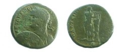 Ancient Coins - Caracalla AE27 of Plotinopolis. Apollo standing facing, head left, playing lyre set on tree trunk to right, upon which a serpent is climbing.