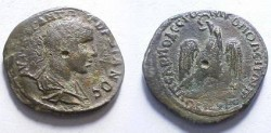 Ancient Coins - Gordian III Æ28 of Nikopolis.  Eagle standing on thunderbolt with wreath.