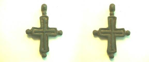 Ancient Coins -  Byzantine bronze cross with incuse cross design and pellet terminations.  700 to 1100 AD, 43mm.