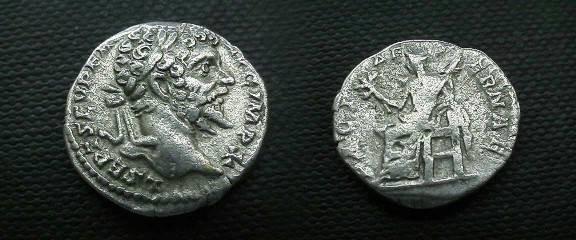 Ancient Coins - Septimius Severus AR Denarius.  PACI AETERNAE, Pax seated left, holding branch and scepter.