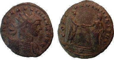 Ancient Coins - Aurelian Antoninianus.  CONCORDIA MILITVM, Aurelian standing right clasping hands with Concordia who stands left, *S in ex.