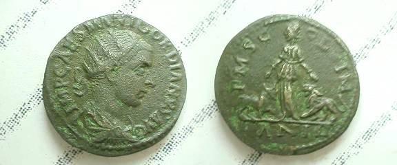 Ancient Coins - Gordian III Æ 24mm of Viminacium.  PMS COL VIM, Moesia standing between bull & lion; AN III in ex.