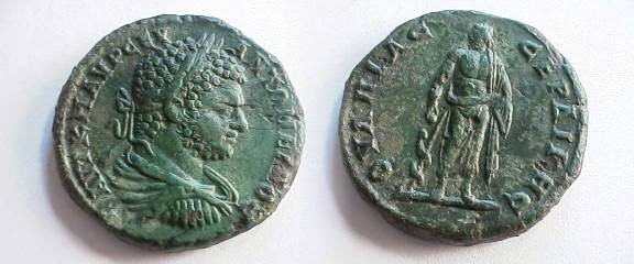 Ancient Coins - Caracalla AE30 of Serdica. Asklepios standing facing, feeding a serpent climbing up staff left. Outstanding EF!