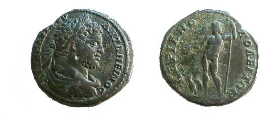 Ancient Coins - Caracalla AE27 of Hadrianopolis. Zeus standing left with patera & scepter, eagle at feet.