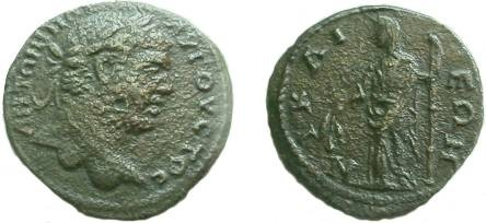 Ancient Coins - Caracalla AE24 of Bithynia, Nicaea.  Demeter standing left with corn ears and long torch.