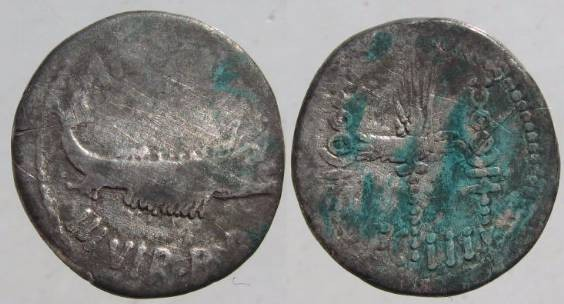 Ancient Coins - Mark Antony Legionary Denarius. 32-31 BC. Praetorian galley right / LEG III.Legio III Augusta