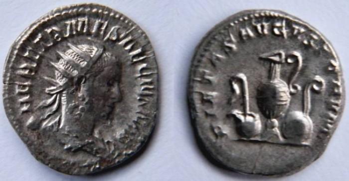 Ancient Coins - Herennius Etruscus AR Antoninianus.  PIETAS AVGVSTORVM, whip, ladle, jug, patera & lituus.