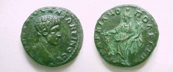 Ancient Coins - Diadumenian AE21 of Markianopolis. Tyche standing left with rudder & cornucopiae.