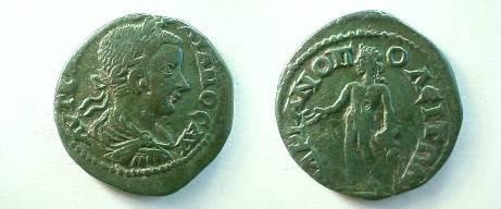 Ancient Coins - Gordian III AE27 of Hadrianopolis, Thrace.  Bonus Eventus standing left with patera & corn ears.