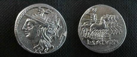 Ancient Coins - Lucius Appuleius Saturninus Denarius,  104 BC.  L SATVRN, Saturn in quadriga right; letter or dots above.