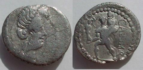 Ancient Coins - Julius Caesar Denarius.  CAESAR, Aeneas walking left, carrying Anchises and the Palladium.