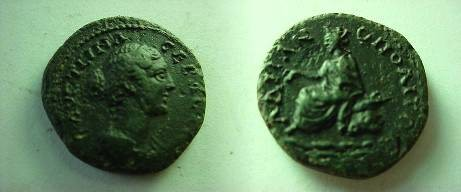 Ancient Coins - Faustina II AE23 of Hadrianopolis, Thrace.  Tyche seated left on rock.