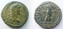 Ancient Coins - Severus Alexander AE28 of Markianopolis. Eagle standing left on rod, head left with wreath in its beak.