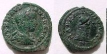 Ancient Coins - Elagabalus AE18 Assarion of Markianopolis. Snake emerging from half-opened cista.