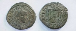 Ancient Coins - Gordian III AE28 of Hadrianopolis, Thrace.  Tetrastyle temple with cult statue within.