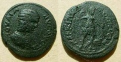 Ancient Coins - Julia Domna AE25 of Markianopolis. Diana advancing right, drawing arrow from quiver on her back, holding bow, hound at feet.