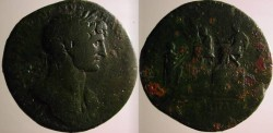 Ancient Coins - Hadrian Æ Sestertius.  LIBERALITAS AVG below Emperor on platform handing out cash .Rare