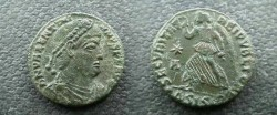 Ancient Coins - Valentinian I AE3. SECVRITAS REIPVBLICAE, Victory advancing left.EF WITH BEAUTIFUL APPLE GREEN PATINA