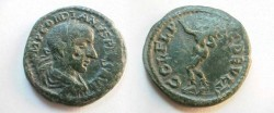 Ancient Coins - Gordian III AE23 of Deultum, Thrace.  COL FL PAC DEVLT, Silenos standing left in large shoes with hand raised and wineskin over shoulder.