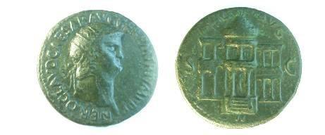 Ancient Coins - Nero AE Dupondius.View of the domed Macellum Magnum building.