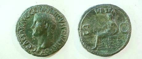 Ancient Coins - Gaius Caligula Æ As.  VESTA above, S C across field, Vesta seated left, holding patera and sceptre.