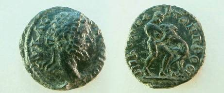 Ancient Coins - Septimius Severus AE18 of Nikopolis, Moesia.  Hercules wrestling the Namean Lion right.