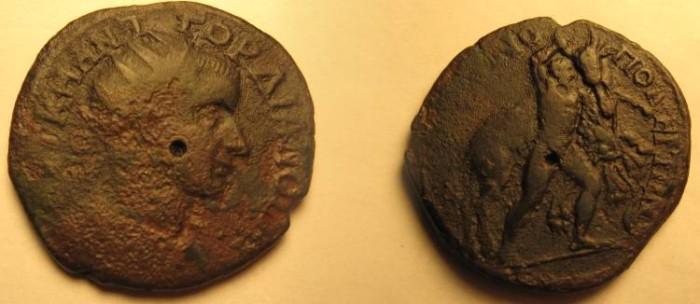 Ancient Coins - Gordian III AE30 of Hadrianopolis. Hercules seizing the Cretan bull.