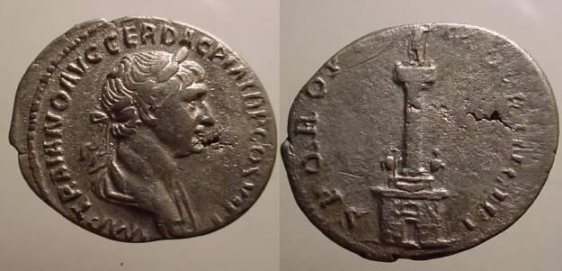 Ancient Coins - Trajan AR Denarius. Struck 115 AD. Trajan's column: statue of Trajan atop