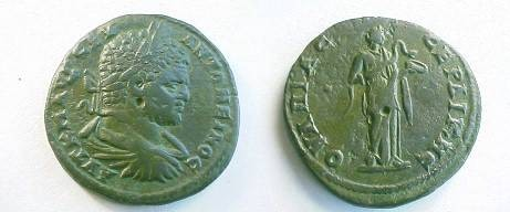 Ancient Coins - Caracalla AE31 of Serdica, Thrace.  Hygeia standing right feeding serpent from a patera.