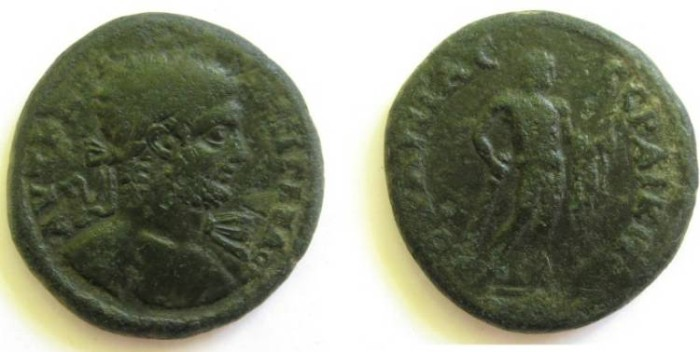 Ancient Coins - Geta AE30 of Serdica, Thrace.Herakles naked, standing, holding apples and lionskin in left hand, and club in right.RRRR