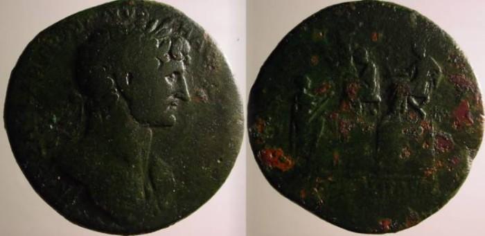 Ancient Coins - Hadrian Æ Sestertius.  LIBERALITAS AVG below Emperor on platform handing out cash .Rare