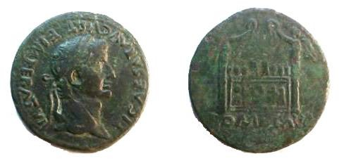 Ancient Coins - Tiberius, as Caesar,  12-14 AD.  ROM ET AVG, front elevation of the Altar of Lugdunum, decorated with the corona civica between laurels, nude figures, & Victories.